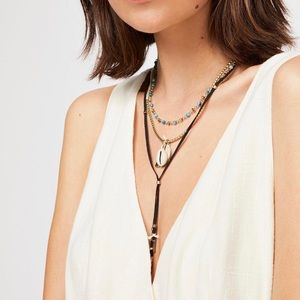 NEW Free People Outlaw Suede Layered Bolo Necklace